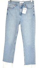 Topshop HIGH RISE STRAIGHT LEG Light Blue Raw Hem Jeans Large 10 W29 L28 Petite
