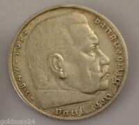 Drittes Reich 5 Reichsmark Silbermünze 1935 A - Paul von Hindenburg