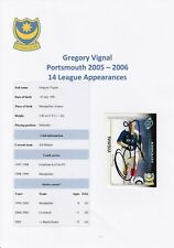 GREGORY VIGNAL PORTSMOUTH 2005-2006 ORIGINAL HAND SIGNED SHOOT OUT CARD