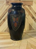 """Vtg 12""""  Tokanabe Ware Pottery Vase Japanese Art Deco with Butterflies/ Leaves"""