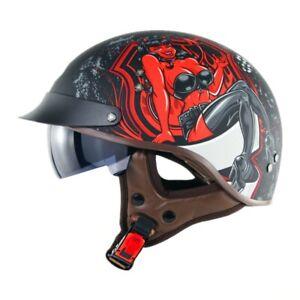 SOMAN Vintage RED Girl Matt Black Half Face Motorcycle Helmet Retro DOT Standard