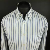 Lacoste Mens Vintage Oxford Shirt 45 (2XL) Long Sleeve Blue Classic Fit Striped