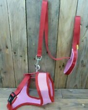 Dog Harness & Lead Set Pink Mesh Red Padded Animate Stop Pulling Trainer Large
