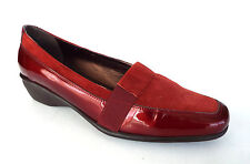 SESTO MEUCCI Size 10 C or Wide Red Patent & Suede Loafers Shoes