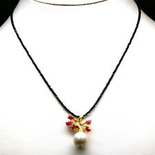 """NATURAL WHITE PEARL, RUBY & SPINEL PENDANT & NECKLACE 18"""" 925 STERLING SILVER"""
