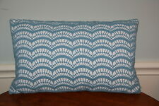 Lumbar Feather zippered Sea Shell Pattern Blue Cotton Crochet Toss Pillow 19x12
