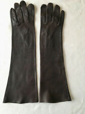 Long Dark Brown Soft Leather Gloves - Washable - Made in Italy - Size 7
