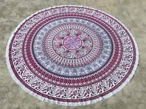 Dark Red and Blue Indian Round Mandala Beach Towel Throw Tapestry Table Cover
