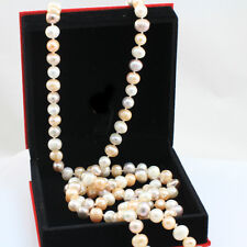 Long Freshwater Pearl Necklace 120 cm, Handmade, 3 Colour Pearls, Gift Box