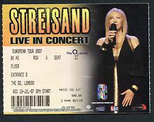 2007 Barbara Streisand concert ticket stub The O2 London UK  England Funny Girl