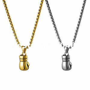 """Men Women Punk Stainless Steel Boxing Glove Pendant Necklace Wheat Chain 22"""""""