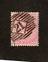 Great Britain stamp #26, used, wmk. 23, 4p rose, 1857, SCV $125