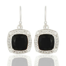 Wedding Fashion Black Onyx Dangle Earrings 925 Silver Gemstone Jewelry