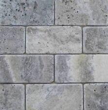 Silver Travertine Tumbled Subway Tiles 75x150mm on Mesh Premium Quality