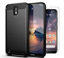 For Nokia 1.3 Case Carbon Fibre Cover & Glass Screen Protector