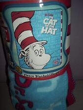 Dr. Seuss Cat in the Hat Fleece blanket Throw Blanket  NEW 50 by 60""