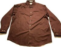 LL Bean Mens Brown Front Pocket Button Front Shirt Size XL