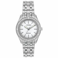 Citizen Eco-Drive Women's EM0240-56A Carina Diamond Bezel Silver-Tone 29mm Watch
