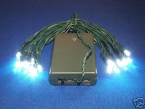 2 STRINGS - CAMPING LIGHTS - 20 battery power LEDs - super bright white LEDs
