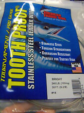 "#14 AFW TOOTH PROOF STAINLESS STEEL LEADER WIRE 218 LB 30' -.Diam .033"", .84mm"