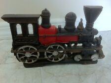 "Antique 5pds 12"" Train Locomotive Doorstop Hand Painted Cast Iron Excellent Cond"
