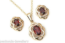 9ct Gold Celtic Garnet Pendant Necklace and Stud Earrings Gift Boxed Made in UK