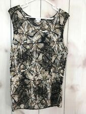 Jaclyn Smith Womens Size Large blouse shirt floral sleeveless size L m25
