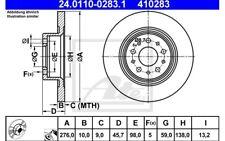 ATE Juego de 2 discos freno Trasero 276mm para ALFA ROMEO 147 GT 156