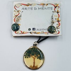 New Arte D Mente Tree of Life Necklace Earrings Set Black Cord Artisan Made