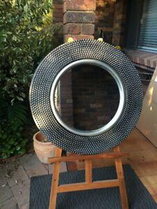Circular Beaded Design Aged Silver Mirror 80cm Diameter