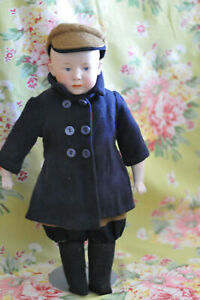 """Antique 16"""" German Gebruder Heubach Pouty Character Boy Doll Marked & Darling!"""