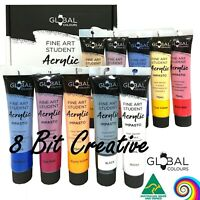 New! GLOBAL COLOURS 10 Brilliant Colours x 75ml Acrylic Paint Tubes Set Painting