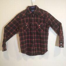 Pendleton Canyon Shirt High Grade Western Wear Red/Brown Plaid Pearl Snap Wool M