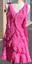 BCBG Maxazria 100% Silk Womens Pink Size 8 Ruffled Cocktail Dress