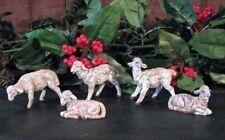 5pc WHITE FONTANINI SHEEP Christmas Nativity Accessory Animal GIFT BOX~ New!