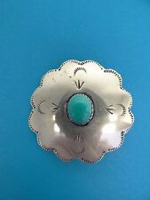 Vintage Sterling Silver Mexican Turquoise Pendant Brooch Pin Native American?