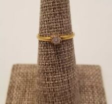Diamond Chip Gold Plated Promise Ring Vintage Size 4.75 Cute Flower Engagement