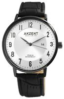 Akzent Herrenuhr Silber Schwarz Analog Datum Kunst-Leder Armbanduhr X2900189003