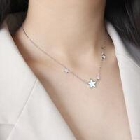 Halskette Sterne Weiß echt Sterling Silber 925 40 + 4 cm Damen Collier