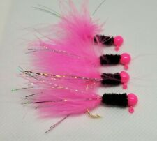 Hand Tied Crappie Jigs 1/16oz  Black/Pink