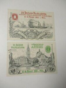 """2 Sonder-Postkarten 1910 """"22.Deutscher Philatelistentag KIEL"""""""