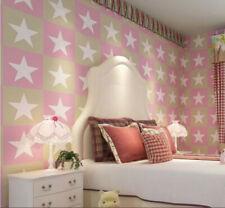 PINK STARS WALLPAPER KIDS ROOM Pink Blue Girls room Nursery Decor