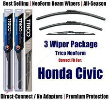 3-Pack Wipers Front & Rear - NeoForm - fit 1996-1998 Honda Civic 16200/180/30150