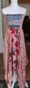 Umgee Size Large Tube Top Asymmetrical Hem Dress Blue Pink Floral Print
