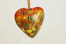 Vintage Painted Heart Christmas Ornament Holiday Tree Decoration 3x3 Inches