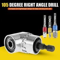 "105 Degree Right Angle Drill Bit + 1/4"" 3/8"" 1/2"" Hex Shank Socket Adapter Set"