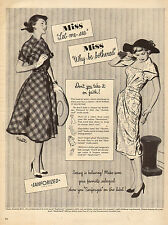 1950 vintage AD buy only SANFORIZED clothing ! great 1950 fashion Art 081015