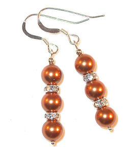 COPPER Pearl Earrings Swarovski Crystal Elements Sterling Silver Dangle Bridal