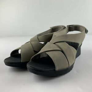 NEW Cloudsteppers Clarks Caddell Jena Women US 9.5 Sage Grey Slingback Sandals