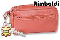 Rimbaldi® Große Leder Schlüsseltasche mit Extrafach in Cognac